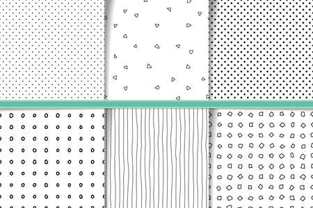 Abstract hand drawn monocolor seamless patterns set. Fabric flaps, textile patches collection. Monochrome backgrounds irregular geometric shapes. Hand drawn circles, lines and dots backdrops Vector Illustration