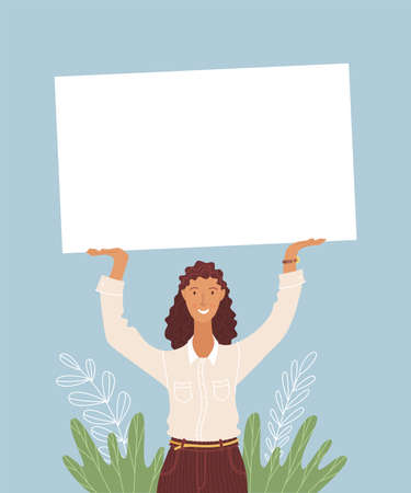 Businesswoman holding empty border vector illustration. Office work, business development, company promotion. Employee, female manager, woman holding blank frame isolated cartoon characters