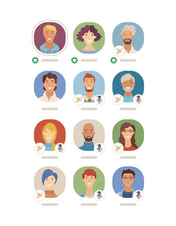 Interface of Clubhouse app vector template. Women and men flat avatars. Audio chat conversation. Voice social networking application. Podcast, online live stream. Diversity of speakers and listeners Vektorgrafik