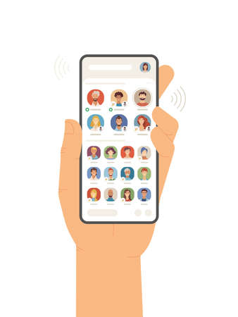 Hand holding mobile phone with Clubhouse app on screen flat vector illustration. New audio social network. Wide variety of speakers and listeners online chatting. Virtual rooms with conversations