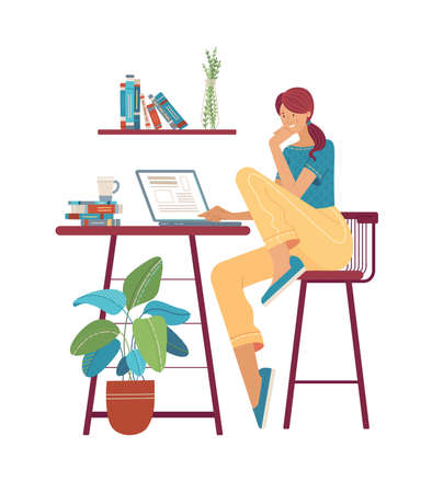 Thoughtful young woman working at computer flat vector illustration
