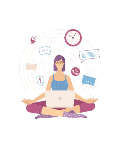 Young calm woman sitting in the lotus pose and relaxing flat vector illustration