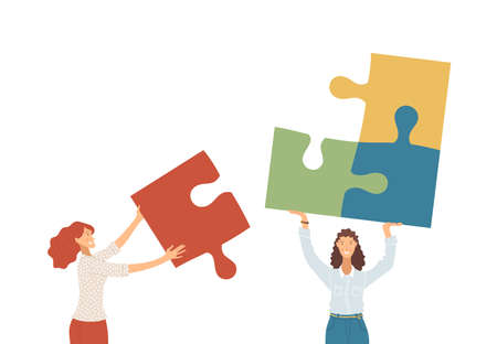 Businesswomen collecting puzzle together flat vector illustration