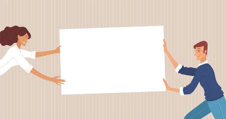 Businessman and businesswoman holding empty border together vector illustration Ilustracje wektorowe