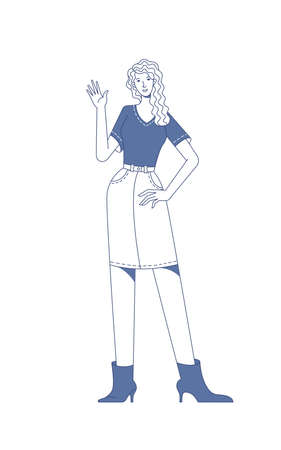 Smiling woman in casual clothes waving hello linear vector illustration Vector Illustration