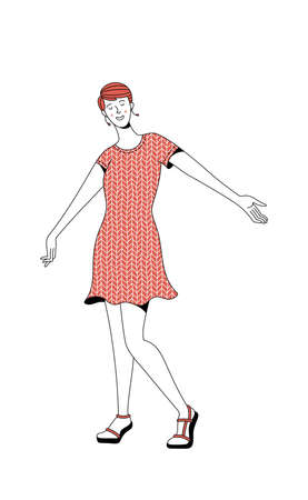 Cheerful young girl wearing red dress enjoying life