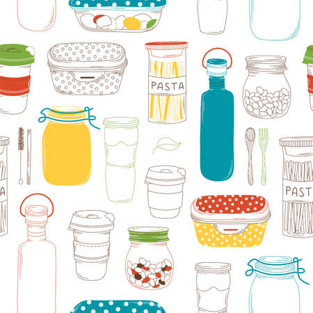 Recyclable kitchen containers linear vector seamless pattern Ilustracje wektorowe