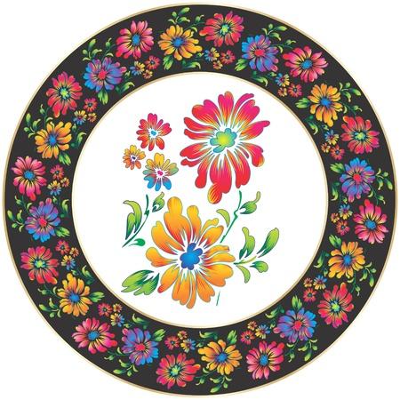 framed: Flower design for ceramic