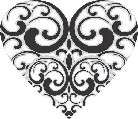 plante design: Conception de coeur d�coratif Illustration