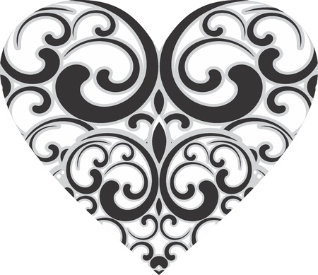 flower tattoo design: Decorative heart design