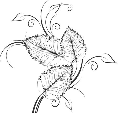 flower tattoo design:  leaf decoration design elements