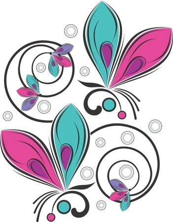 butterfly and fancy flower Vector