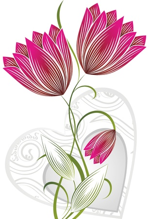 flower with heart Vector