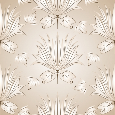 Seamless lotus flower background Vector