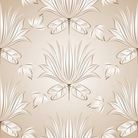 Seamless lotus flower background Stock Vector - 14696266