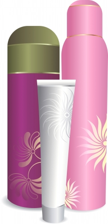 medical shower: Set of cosmetic bottles Illustration