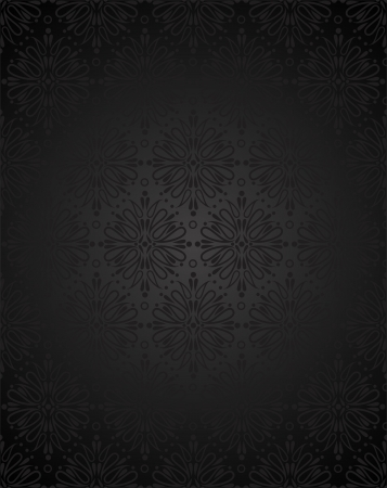 Seamless charcoal small floral elements wallpaper Stock Vector - 15016423