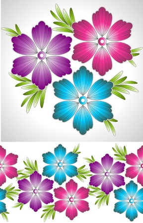 bunch flowers: Set of fancy vector flower and border
