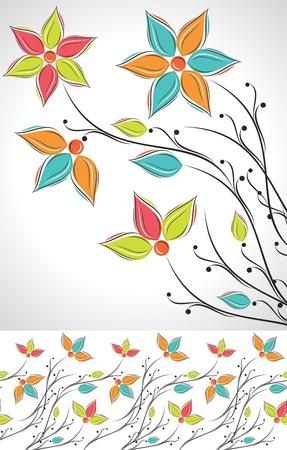 bordures fleurs: Jeu de fleur fantaisie et des fronti�res Illustration