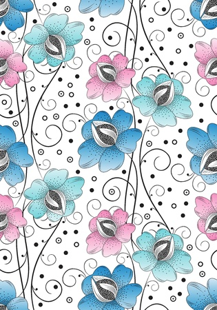 Seamless textile flowers background Stock Vector - 15236675
