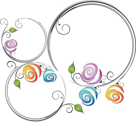 abstract flowers: Frame of roses Illustration