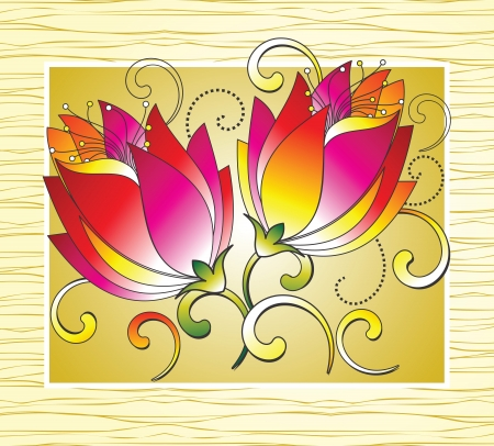 wealth abstract: Fancy flowers for greeting card