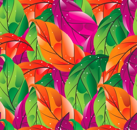 Seamless colored leaves background Vector