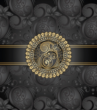 paisley black book cover Vector