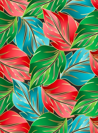 Wallpaper of seamless leaves Vector