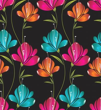 Seamless wallpaper of creative flowers