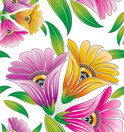 Seamless flowers for textile designs Vector