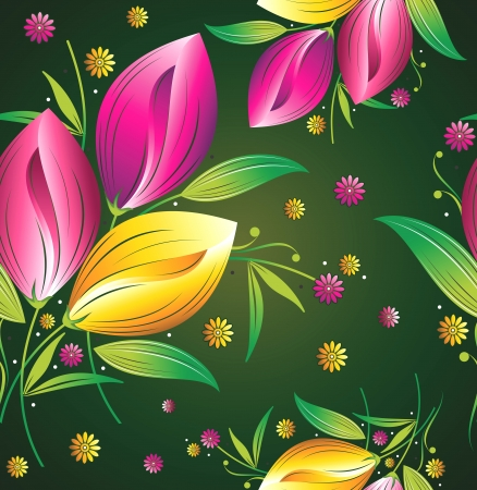 Seamless wallpaper of tulip flowers Vector