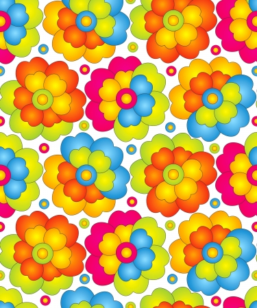 colored: Seamless colorful flowers for curtain Illustration