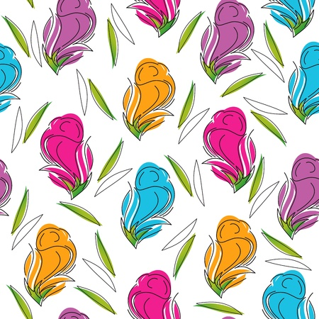wrapper: Seamless background of artistic rose flower Illustration