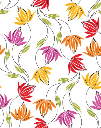fancy floral wallpaper: Seamless background for fabrics Illustration