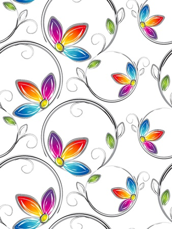 floral fabric: Seamless wallpaper of artstic flowers