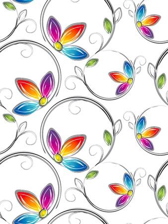 fancy floral wallpaper: Seamless wallpaper of artstic flowers