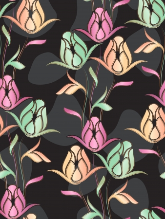 Seamless creative background of rose Vector