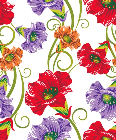 abstract flowers: Seamless  flowers for textile designs Illustration