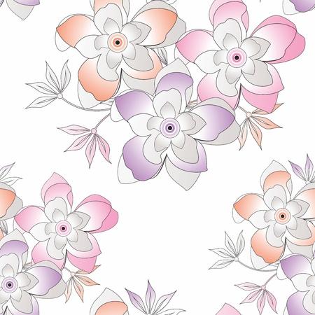Seamless fancy vector flower background Stock Vector - 15825072