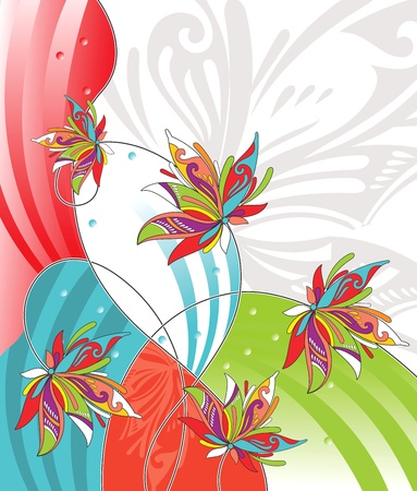 abstract flowers: flower design for greeting card