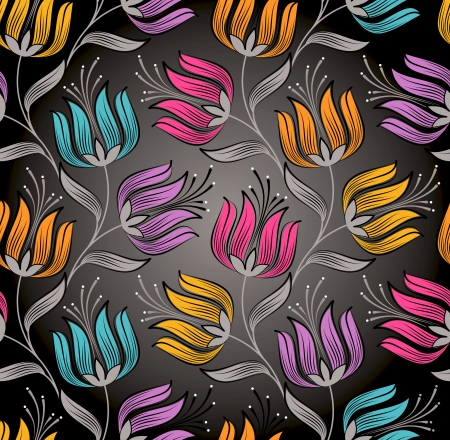 Seamless wallpaper of fancy flower Vector