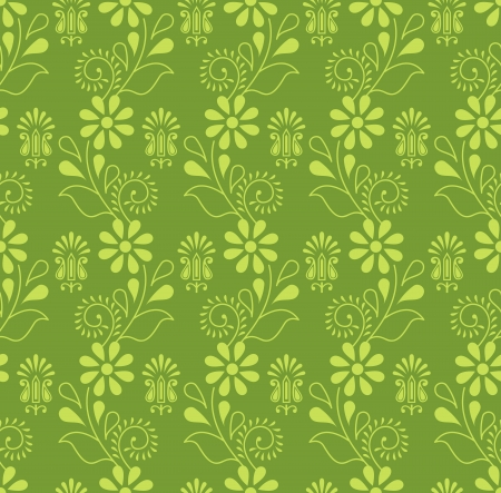 Seamless green damask pattern Vector