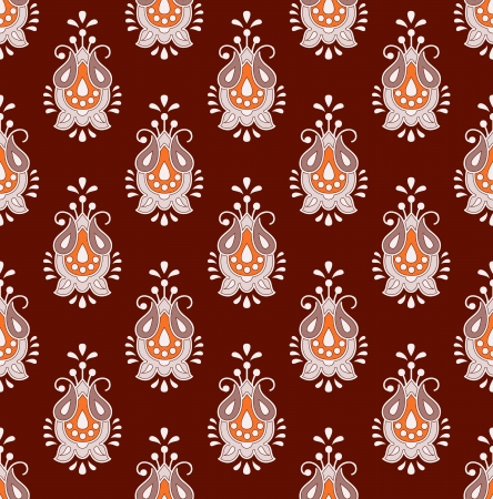traditional silver wallpaper: Brown seamless paisley background Illustration