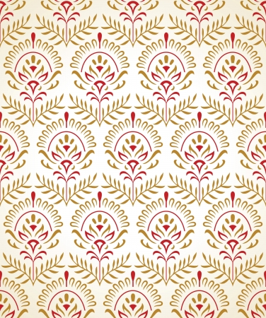damask pattern: Traditional seamless wallpaper in gold