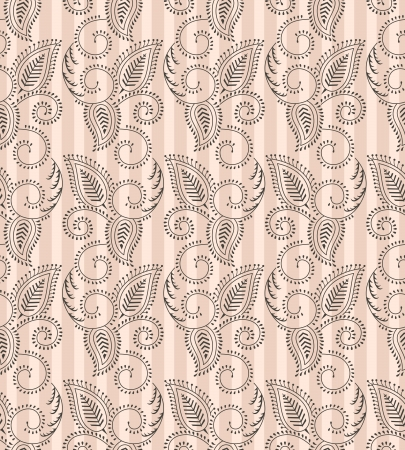 Seamless paisley background with vertical lines Vector