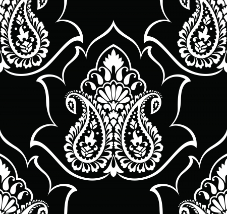 traditional silver wallpaper: Traditional paisley wallpaper Illustration