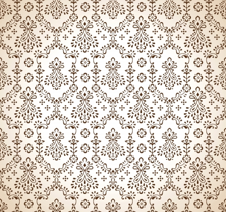 mustered: Seamless brown paisley wallpaper Vectores