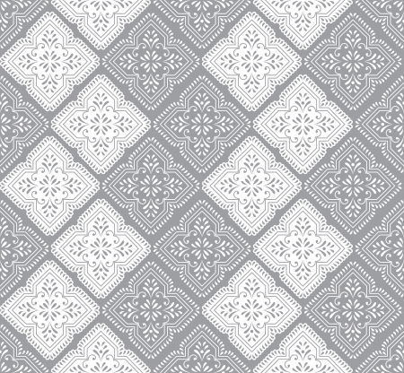 Seamless paisley wallpaper in silver Vector