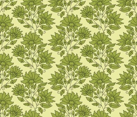 mustered: Fondo verde de flores sin fisuras
